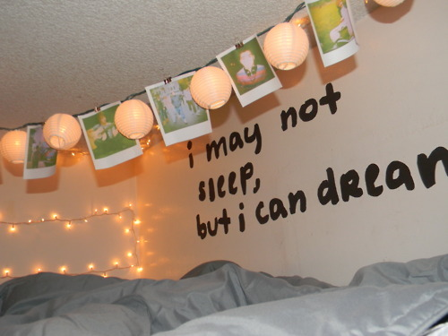 bed, bedroom, lights, picture, text