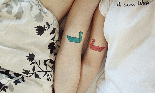 bed, couple, friends, origami, tattoo