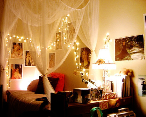 bedroom, cute, light, love