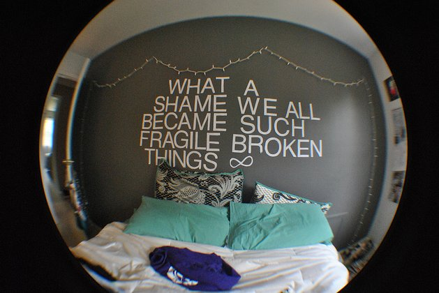 bedroom, text, wall