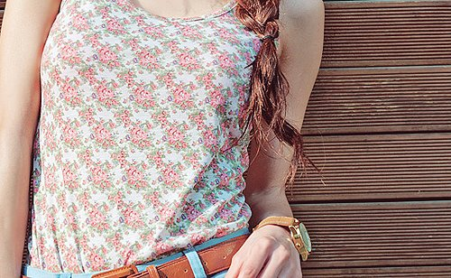 belt, blouse, brown, clock, cute, fashion, floral, flower, girl, hair, pattern, t-shirt