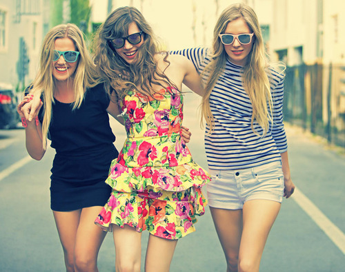 best friends, dress, girl, glasses, happiness