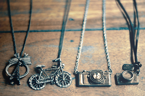 bikes, camera, necklaces, tower