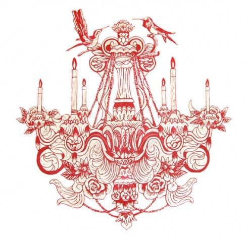 bird, candle, carving, chandelier, drawing, feminine, flash, girly, red, roses, tattoo design, white, wood