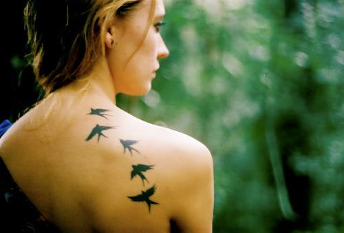 birds, forest, girl