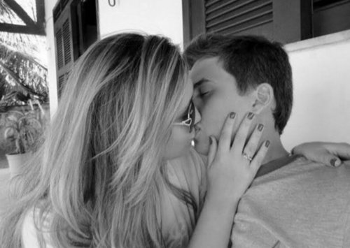 black and white, blackandwhite, boy, couple, cute, girl, kiss