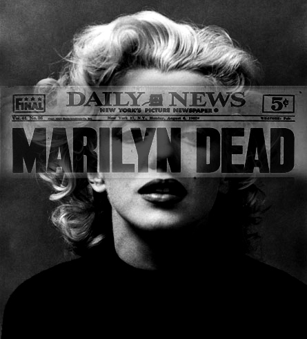 black and white, blonde, dead, death, headline, marilyn dead, marilyn monroe, vintage