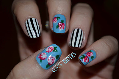 black and white, blue, nail art, pink, red roses