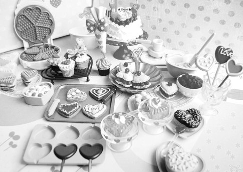black and white, candy, food, hearts, sweets