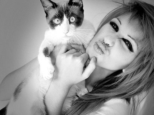 black and white, cat, girl, lindsay woods, pretty