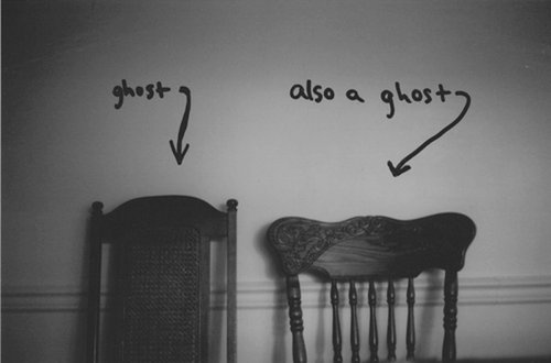black and white, chairs, ghost, mix, text