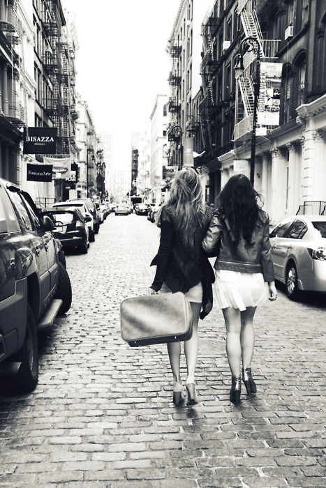 black and white, city, friends, friendship, girls