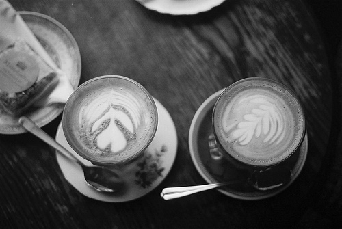 black and white, coffee, coffee art, photography, vintage