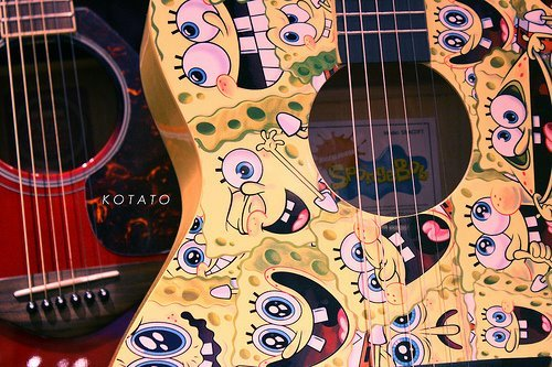 black and white, creativity, girl, guitar, spongebob