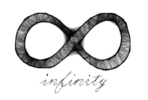 black and white, drawing, infinity