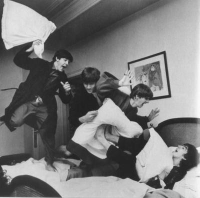black and white, friends, fun, john lennon, pillow