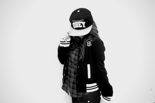 black and white, girl, obey, photography