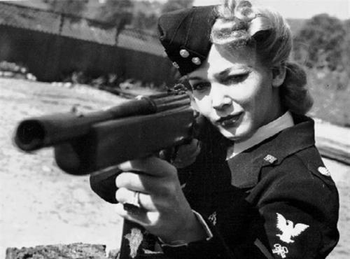 black and white, gun, vintage, woman