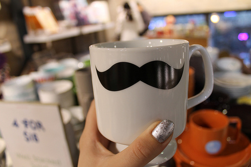 black, black and white, coffee cup, mustache, mustache cup, nail polish, photography, silver, tea cup, white