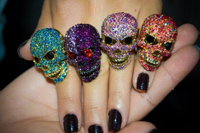 black, blue, color, fingers, hand, nails, pink, purple, red, rings, scrul, scrull, skull, violet