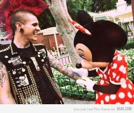 black, body mod, bow, disney, funny, green, love, minnie, minnie mouse, mohawk, mouse, photo, photograph, piercings, polka dots, punk, red, silver, tattoo, tattoos, white