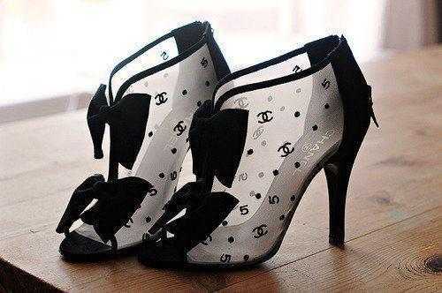 black, bow, chanel, cute, high heels