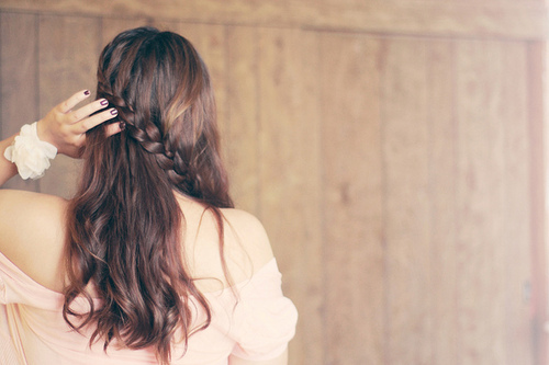 black, braided, brunet, flower, girl, hair, hand, lovely, nails, white