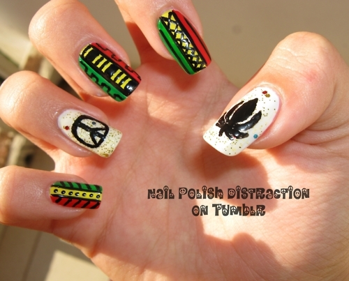 black, cannabis, design, green, leaf, mani, manicure, marijuana, mixed, nail, nail art, nail polish, nails, peace, polish, rasta, red, reggae, sign, tribal, weed, white, yellow
