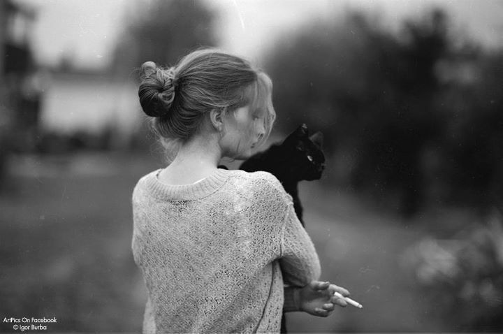 black, cat, girl, photography, white