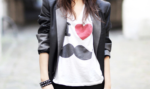 black, clothing, fashion, girl, heart, jacket, mustache, t-shirt