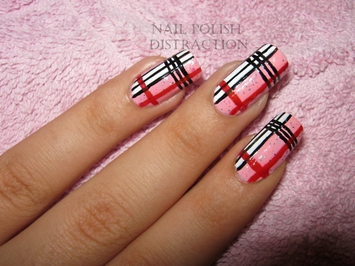 black, design, mani, manicure, nail, nail art, nail polish, nails, pink, plaid, polish, red, stripes, white