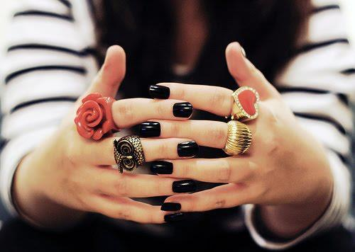 black, flower, girl, gold, heart, nails, owl, rings, skin
