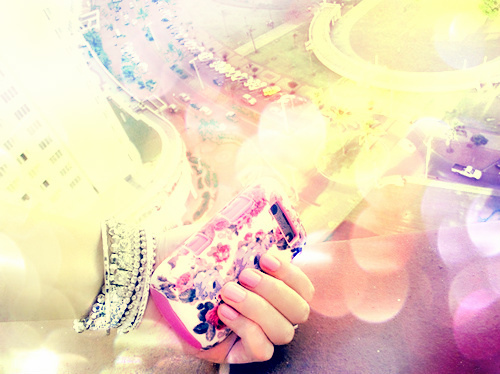 blackberry, braclet, colours, cool, edit, nail polish, nails, phone, pink, pretty, purple, rainbow, sunshine, yellow