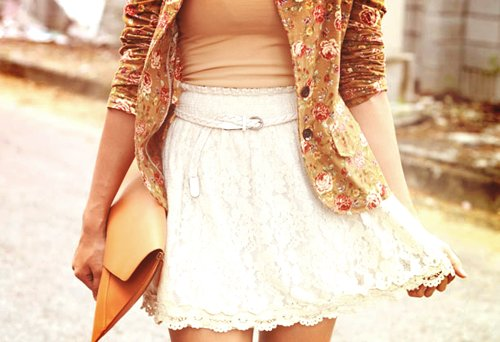 blazer, fashion, floral, skirt
