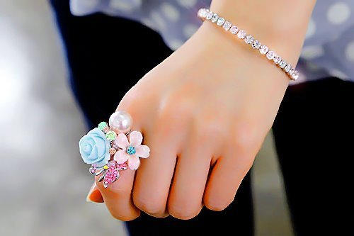 bling, blue, bow, bracelet, fashion