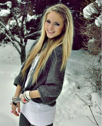 blond, girl, grey, hair, jacket, nice, snow, tree