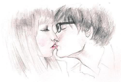 blond hair girl, boy, couple, dark hair, drawing, girl, glasses, kiss