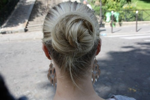 blonde, blonde hair, blondie, bun, earrings