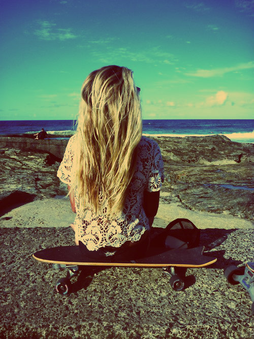 blonde, blue, cap, girl, hair, life, long, nice, ocean, pretty, skate, skateboard, sky, summer