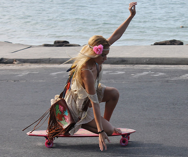 blonde, boho, dress, girl, skate