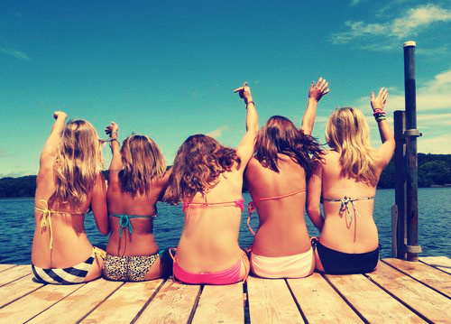 blonde, brunette, girls, lake, summer, vacation, water