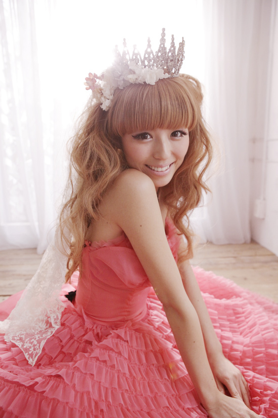 blonde, chinatsu, dress, girl, hair, japanese, pink, pretty, princess, tiara