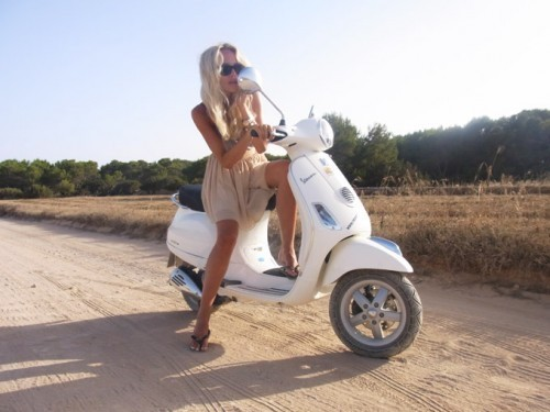 blonde, dress, girl, italy, scooter