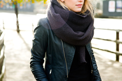 blonde, fashion, jacket, scarf, style