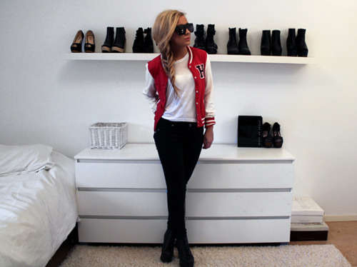 blonde, girl, heels, jacket, red, red jacket, shoes, white