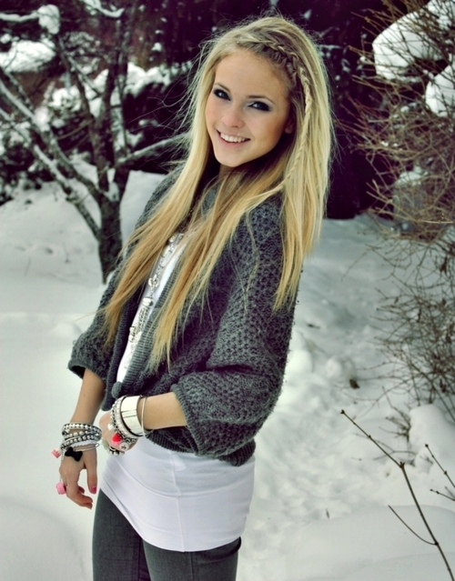 Blonde Hair, Girl, Pretty, Snow