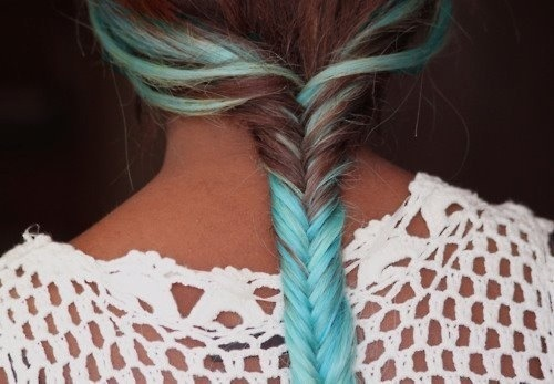 blue, brown hair, fishtail braid, hairstyle, highlights