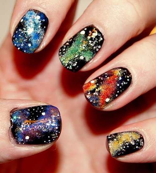 blue, color, galaxy, green, nail polish