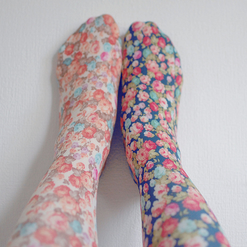 blue, cute, different, floral, flower, girl, lovely, many, sock, sweet, vintage, white