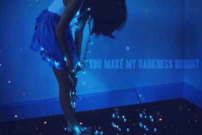 blue, darkness, fairy lights, girl, happy